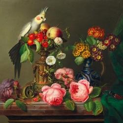 Пазл онлайн: Цветы, фрукты  и попугай