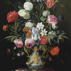 Пазл онлайн: Букет в голубой вазе