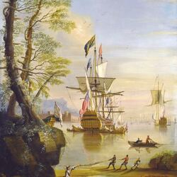 Пазл онлайн: Корабль в порту