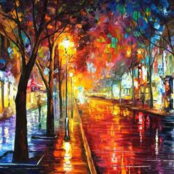 Пазл онлайн: Дождливый бульвар