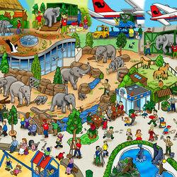 Пазл онлайн: Слоны Венского зоопарка