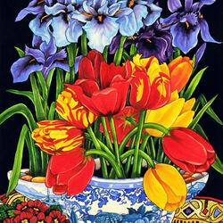 Пазл онлайн: Тюльпаны и ирисы