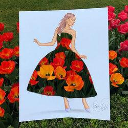 Пазл онлайн: Платье с тюльпанами