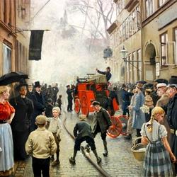Пазл онлайн: Пожар на Скиндергаде в Копенгагене