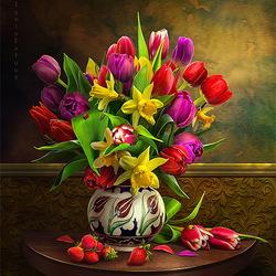 Пазл онлайн: Натюрморт с тюльпанами и клубникой