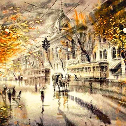 Пазл онлайн: Дождь в городе
