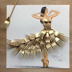 Пазл онлайн: Платье из вилок