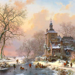 Пазл онлайн: Зимний пейзаж с фигуристами