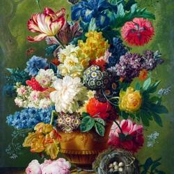 Пазл онлайн: Цветы в вазе