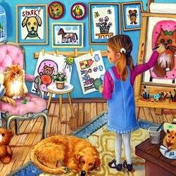 Пазл онлайн: Юная художница