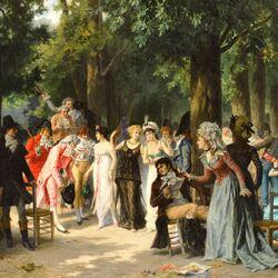 Пазл онлайн: Аристократы в парке