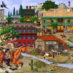 Пазл онлайн: Городок на Диком Западе