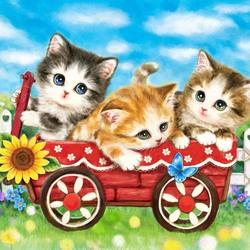 Пазл онлайн: Котята в тележке