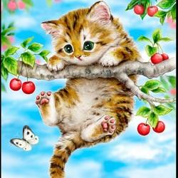 Пазл онлайн: Котёнок на вишне