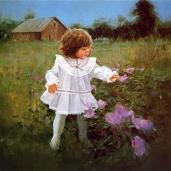 Пазл онлайн: Девочка и цветы