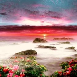 Пазл онлайн: Розовый закат