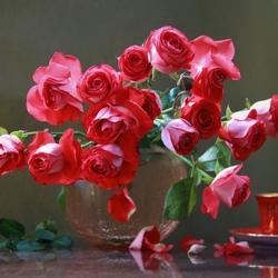 Пазл онлайн: Розы алые