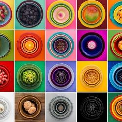 Пазл онлайн: Коллаж с тарелочками