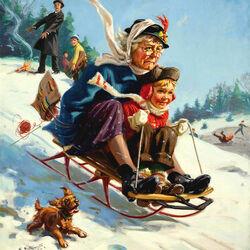 Пазл онлайн: С бабулей на санках