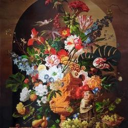 Пазл онлайн: Натюрморт с обезьянкой и цветами.