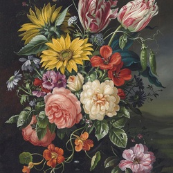 Пазл онлайн: Букет с тюльпанами и подсолнухами