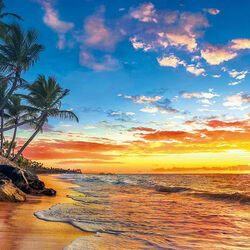 Пазл онлайн: Закат на побережье