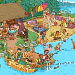 Пазл онлайн: Веселый отдых на озере