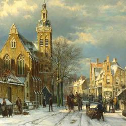 Пазл онлайн: Голландский город зимой