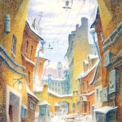 Пазл онлайн: Зимний дворик Петербурга