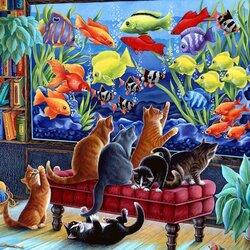 Пазл онлайн: Кошачья рыбалка