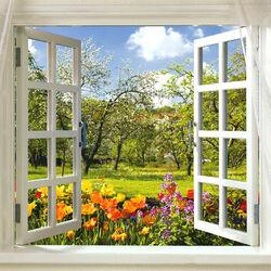 Пазл онлайн: Окно в сад