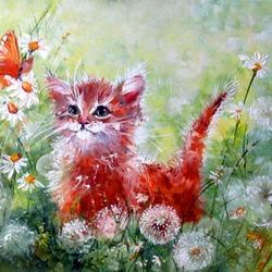 Пазл онлайн: Котенок в одуванчиках