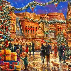 Пазл онлайн: Рождество на площади