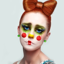 Пазл онлайн: Грустная клоунесса