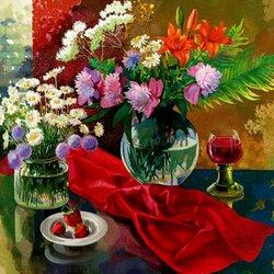 Пазл онлайн: Цветы и каберне