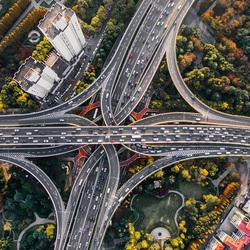 Пазл онлайн: Автомобильная развязка в Шанхае