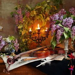 Пазл онлайн: Натюрморт со скрипкой и сиренью