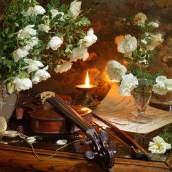 Пазл онлайн: Натюрморт со скрипкой и розами