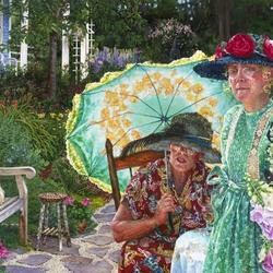 Пазл онлайн: Две женщины в саду