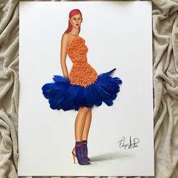 Пазл онлайн: Платье из оранжевой чечевицы и синих перьев
