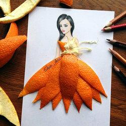 Пазл онлайн: Оранжевое платье