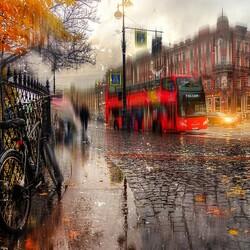 Пазл онлайн: Осенний дождь на Невском