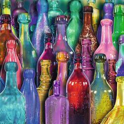 Пазл онлайн: Разноцветные бутылки