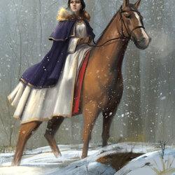 Пазл онлайн: Девушка на лошади
