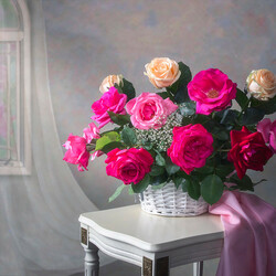 Пазл онлайн: Натюрморт с садовыми розами