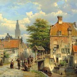 Пазл онлайн: Горожане на мосту через голландский канал