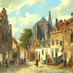 Пазл онлайн: Горожане голландского города в солнечный день