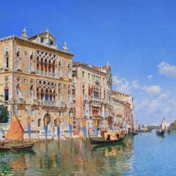 Пазл онлайн: Вид на Большой канал с Палаццо Кавалли-Франчетти