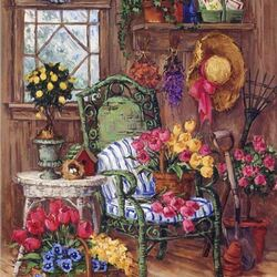 Пазл онлайн: Уголок садовника