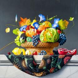 Пазл онлайн: Натюрморт с овощами и цветами